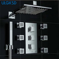 3 Color Changed Square LED Wall Mounted Rainfall Shower Faucets LED Shower Head Massage Jets Shower