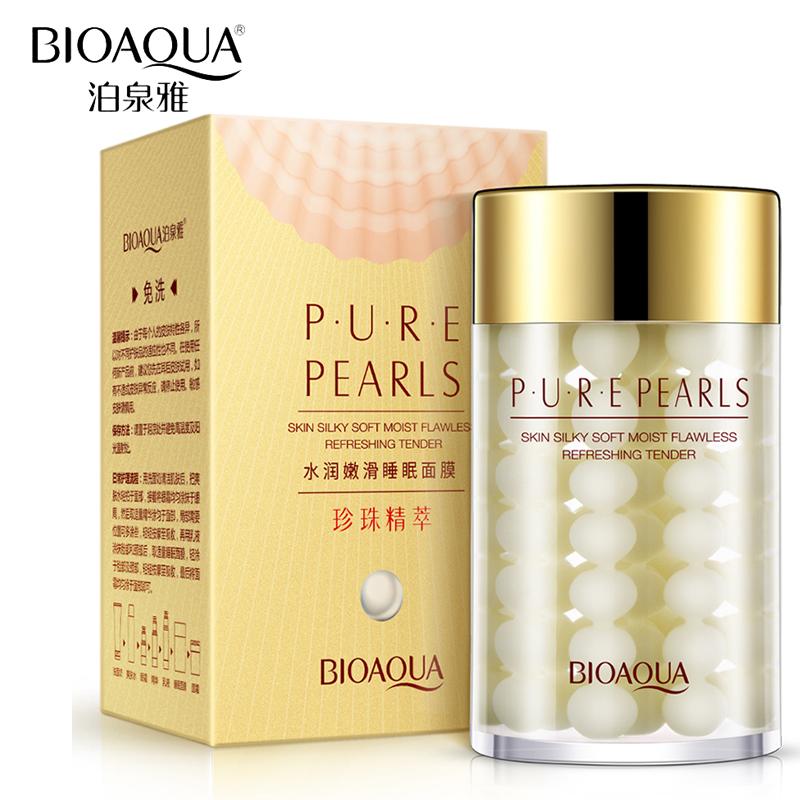 BIOAQUA tuotemerkki Pure Pearl Sleeping Mask Cream Whitening Anti Wrinkle Face Mask kosteuttava ihonhoito Hydrating Facial Night Mask