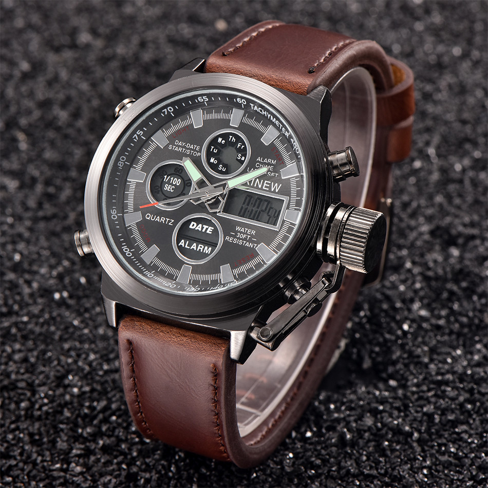 XINEW Luxury Mens Watch Quartz High Quality Sport Military Army Leather LED Watches Analog Stainless Steel Wrist Watch zegarek analog watch