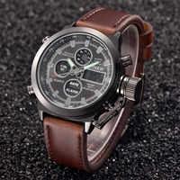 XINEW Luxury Mens Watch Quartz High Quality Sport Military Army Leather LED Watches Analog Stainless Steel Wrist Watch zegarek