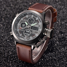XINEW Luxury Mens Watch Quartz High Quality Sport Military Army Leather LED
