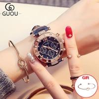 GUOU Women's Watches 2018 Ladies Watch Women Wrist Watches Bracelets For Women Montre Femme Auto Calendar Clock Leather Saat