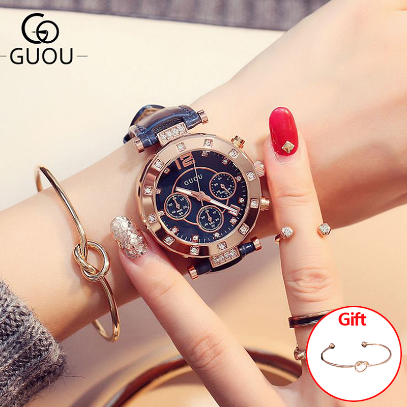 Relojes de mujer GUOU 2018 relojes de pulsera para mujer pulseras para mujer Montre Femme Auto Calendario reloj de cuero Saat