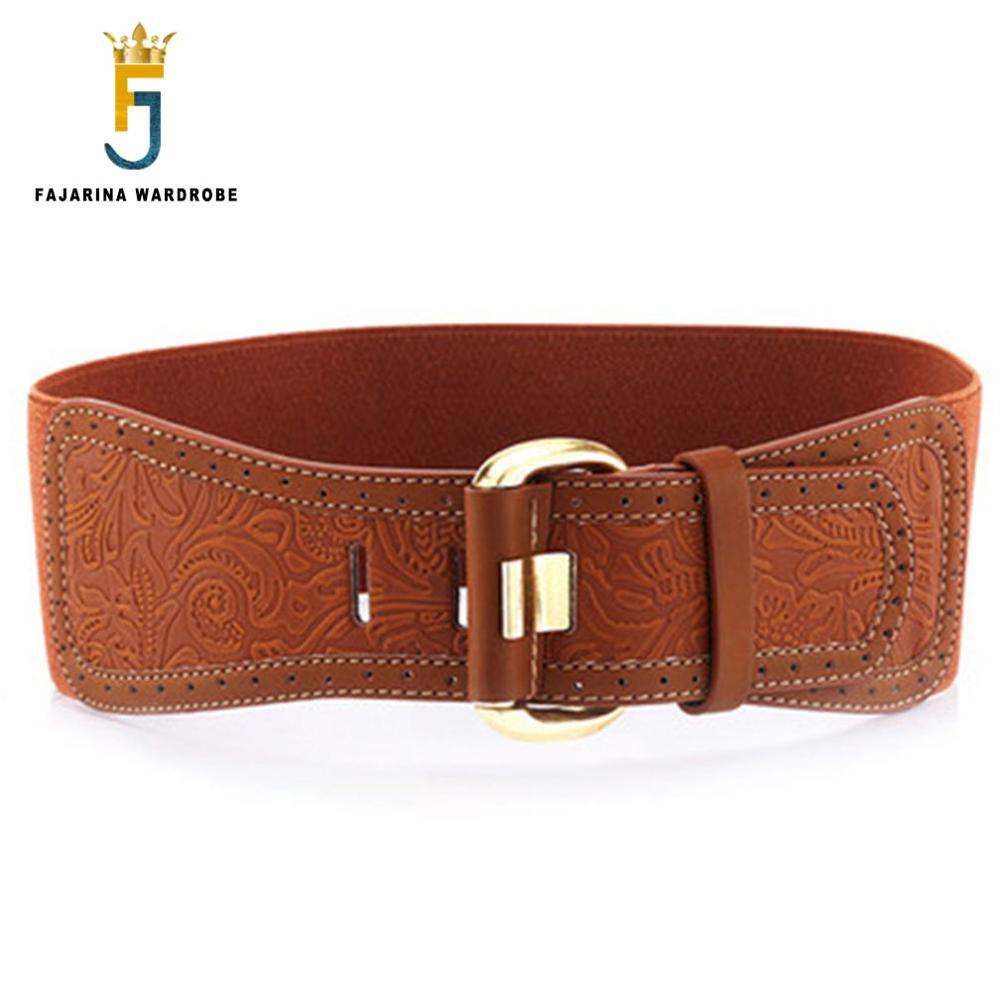 FAJARINA Casual 7.5cm Width Ladies Decorative Elastic Print Cow Skin Genuine Leather Belts Women Wide Waist Cummerbunds LDFJ020