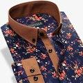 Algodón puro de La Moda Florales Ocasionales de Los Hombres Camisas de Marca de Manga Larga Vestido de Slim Fit Turn-Down Collar Imprimir Flor Masculina camisa