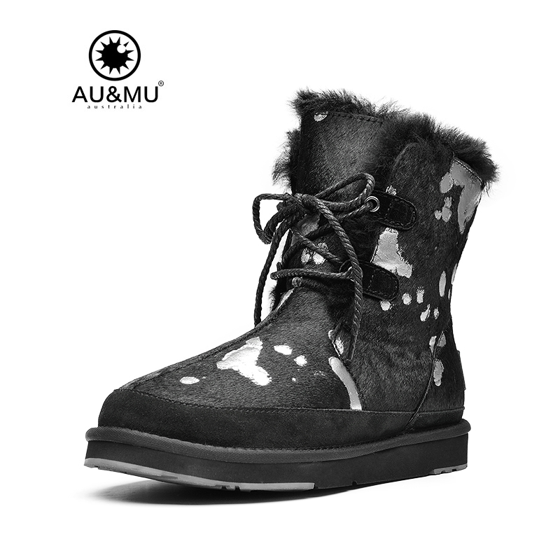 2017 AUMU Australia Shearling Fur Thick Platform Natural Printing Ankle Lace Up Snow Winter Boots UG N383 2017 aumu australia fashion mini