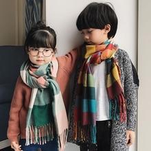 Осенне-зимний детский клетчатый шарф, теплые мягкие шарфы для девочек и мальчиков, детский кашемировый шарф-шаль с кисточками, шарф-глушитель, шейный платок, одеяло