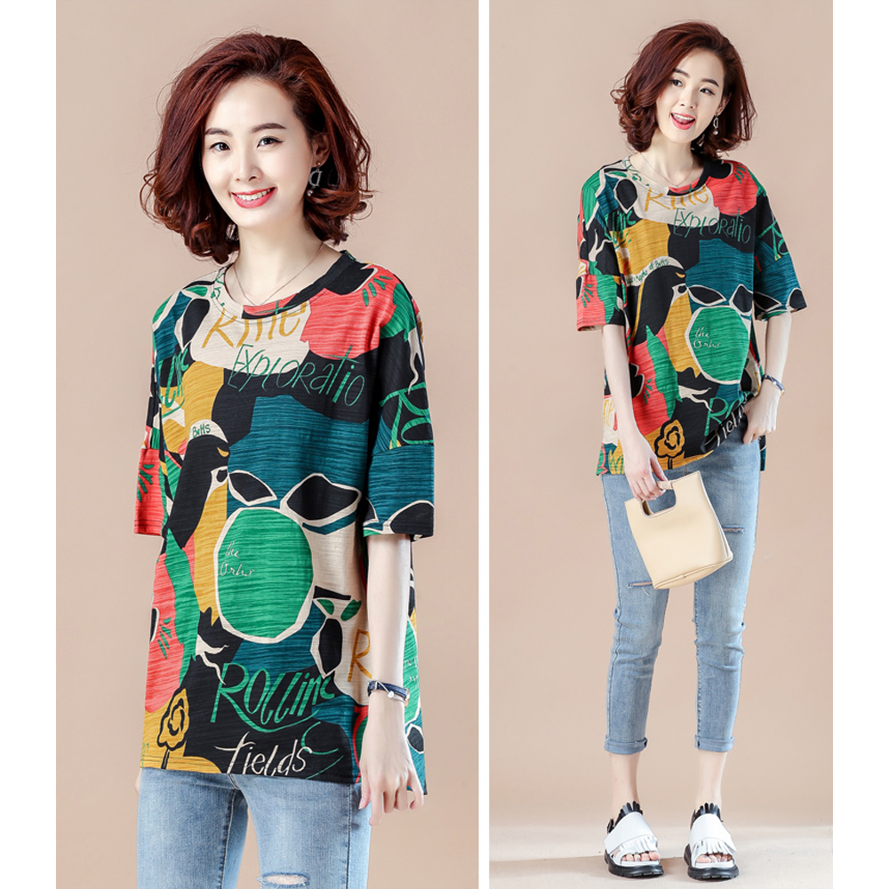 Spring and summer new style Large size ladies t shirt Loose fashion printed casual top in T Shirts from Women 39 s Clothing
