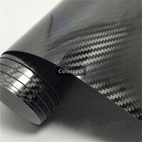 Глянцевая черная 5d углерода Волокно винил Обёрточная бумага Плёнки 1.52*20 м глянцевая текстурированный углерода Волокно блестящие Фольга Air