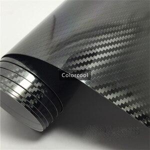 Película de revestimiento de vinilo de fibra de carbono 5D negro de alto brillo 1,52*20 m papel de aluminio brillante texturizado de fibra de carbono burbuja libre de aire