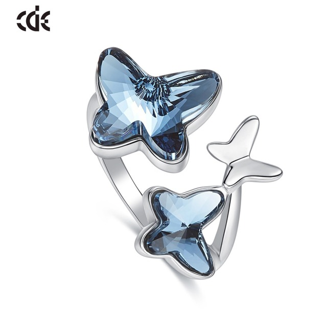 CDE 925 Sterling Ring Embellished with crystals Butterfly Adjustable Finger Women Ring Wedding Engagement Jewelry
