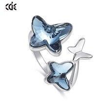 Cde 925 anel esterlina embelezado com cristais borboleta ajustável dedo feminino anel de noivado de casamento jóias