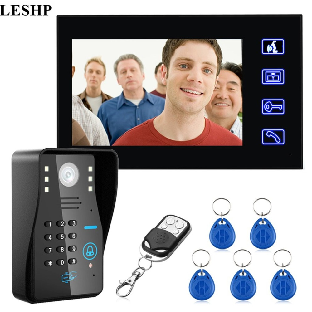 LESHP Wired Doorbell 7 inches RFID Password Video Door Phone Intercom Doorbell With IR Camera HD TV Line Remote Control System touch key 7lcd wired touch key rfid password video door phone doorbell intercom system ir camera with remote control