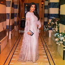2016 Muslim Evening Dresses A-line High Collar Pink Lace Long Sleeves Islamic Dubai Abaya Kaftan Long Evening Gown Prom Dress