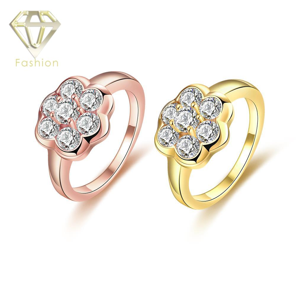 Unique Mothers Rings Classic Rose/ Gold Color Flower Pattern Prong Setting Brilliant Cut CZ Engagement Ring Jewelry