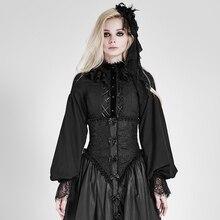 2017 fall winter Punk Gothic GOTHIC Lolita LOLITA Lantern Sleeve Black Retro shirt blouse
