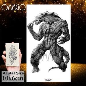 OMMGO динозавр монстр, свирепые временная татуировка, стикер, рык Тираннозавр Рекс, на заказ, тату, боди-арт, руки, запястья, фальшивые татуировки для мужчин