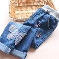 1839742 Venta Al Por Menor 2016 Nueva Moda Spirng Baby Girl Jean Apliques Mariposa Muchacha Del Niño Pantalones de Mezclilla Casual Chica Ropa Lolita
