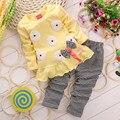 2 pcs Conjuntos de Roupas Meninas Do Bebê Algodão Heart-shaped Amor de Manga Comprida arco Top + Calças Outono Primavera Girassol Roupa dos miúdos Definir V49