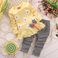 2pcs Baby Girls Clothing Sets Cotton Heart-shaped Long Sleeved Love Bow Top + Pants Autumn Spring Sunflower kids Clothes Set V49
