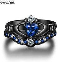 Vecalon Claddagh Donne di Fidanzamento Wedding Band Set di Anelli di pietra Blu AAAAA Zircone Cz 10KT Black Gold Filled anello Del Partito