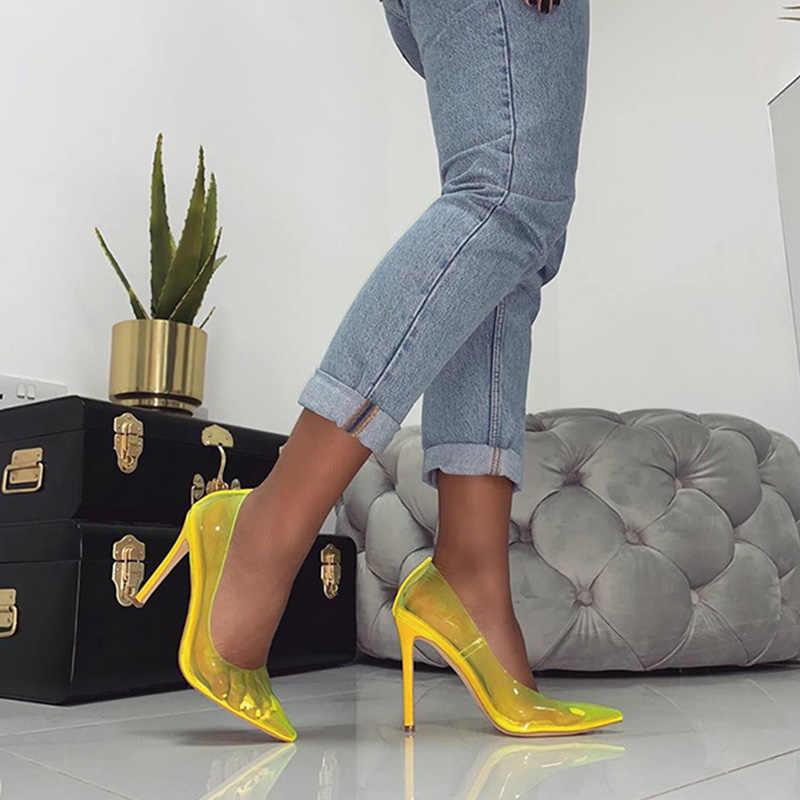 Boussac Şeffaf PVC Kadın Pompaları Yüksek Topuklu Seksi Sivri Burun Kadın Topuklu Ayakkabı Ince Topuk parti ayakkabıları Kadın SWC0544