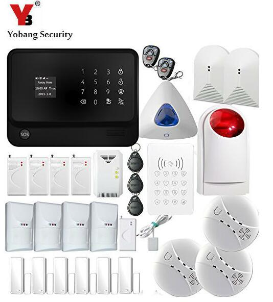 YobangSecurity Touch Screen Home Security WIFI GSM Alarm System with Wireless Smoke Fire Sensor Water Leakage sensor Detector yobangsecurity gsm wifi gprs wireless home business security alarm system with wireless ip camera smoke fire dual motion sensor