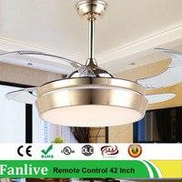 Fanlive Golden Change Light Invisible Fans Lamp Household Mute Aluminum Led Modern Ceiling Fan Remote Control