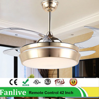 Fanlive Golden Change Light Invisible Fans Lamp Household Mute Aluminum Led Modern Ceiling Fan Remote Control