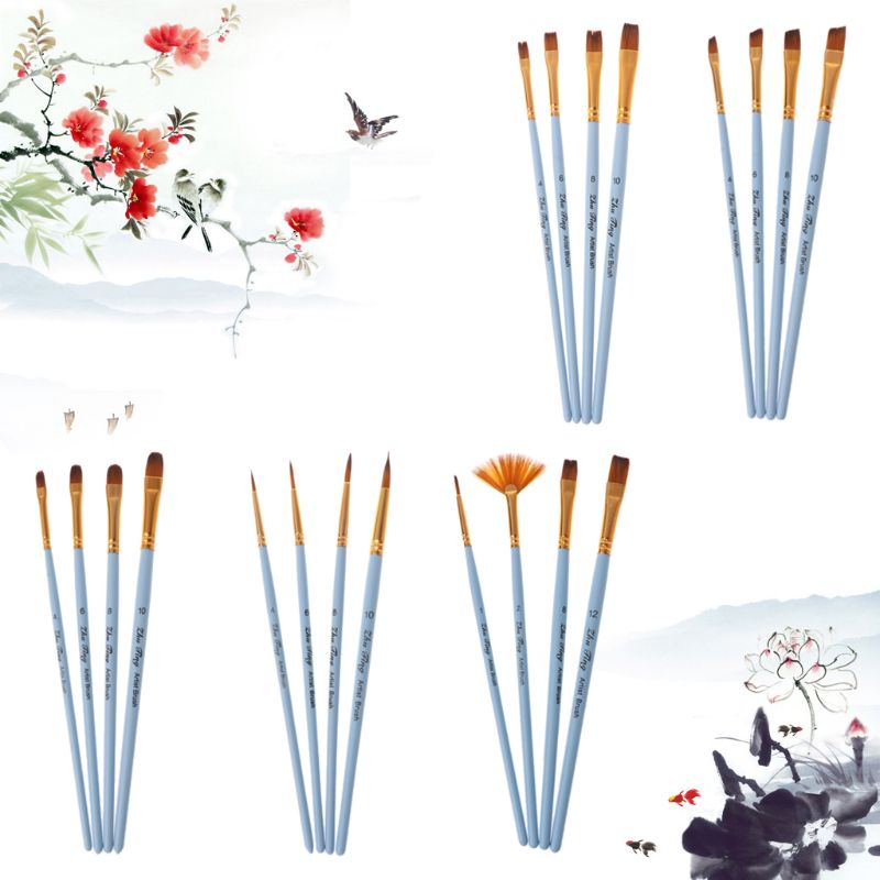 4pcs Professional Paint Brushes Nylon Hair Artist Brush For Acrylic Watercolor Oil Painting Pointed Tip Wood Handle