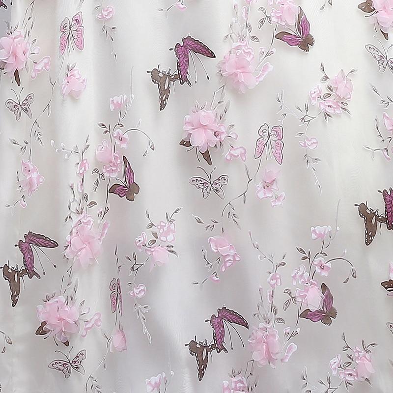 YIDINGZS New Arrive Pink Flowers Butterfly Eveving Dresses 2017 V Neck Half Sleeve Sweet Long Evening Dresses
