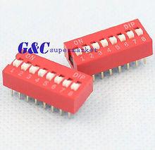 20PCS Red 2.54mm Pitch 8-Bit 8 Positions Ways Slide Type DIP Switch 100pcs ua741cn ua741 lm741 op amp compensation type dip 8