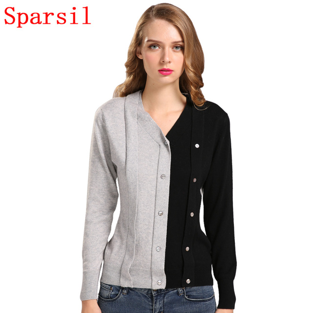 Sparsil Women Autumn Contrast Color Cashmere Blend Pullovers V-Neck Long Sleeve Patchwork Design Knitted Sweaters