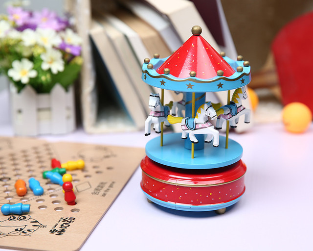 Wooden Carousel Music Box