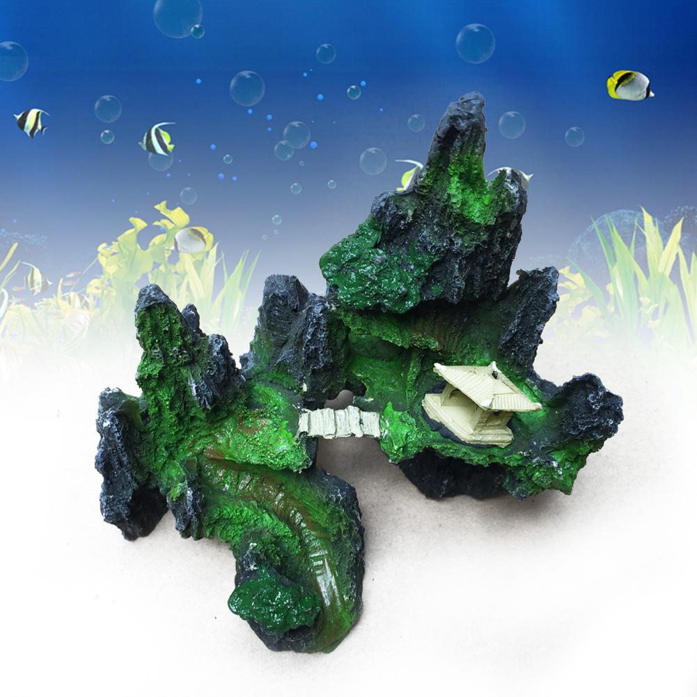 Fish tank decorations zombie - Mountain View Aquarium Ornament Tree Rock Cave Stone Fish Tank Decoration Decor Resin Craft Rockery Landscaping