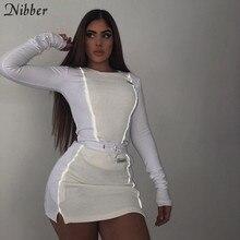 Nibber moda yansıtıcı patchwork spor 2 parça setleri femme 2019new beyaz örgü üstleri kadın tee mini gömlek etek takım elbise