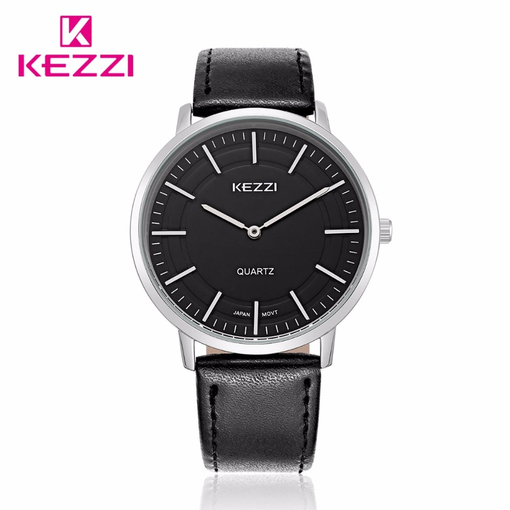 Kezzi Brand Fashion Lovers Women Man Wristwatches Leather strap Japen Quartz Casual Gift Watch k1596 Masculino