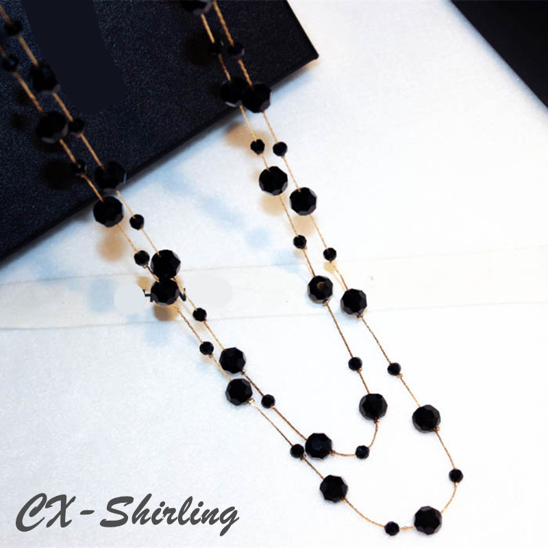 Classic Black Crystal Beads Long Necklaces New Arrival Fashion Brand Layer Sweater Chain Necklace Women Accessories