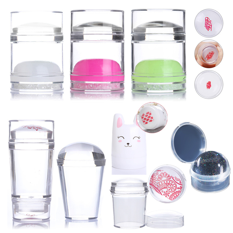 1Pc Clear Jelly Marshmallow Silicone Nail Stamper Refill Head Replacement 2.8 3.5 3.9cm with Box Nail Stamps-in Nail Art Templates from Beauty & Health