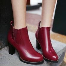 Tamaño 33-43 Invierno de las señoras zapato Deslizamiento Sólido En Punta Redonda PU Cuadrados de cuero Del Alto talón Botines Zapatos de Las Mujeres 4 de color Rojo