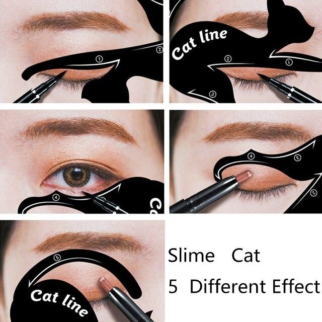 Modèles de pochoirs de fard à paupières deyeliner de chat de 2 pièces composent des outils pour le maquillage doeil
