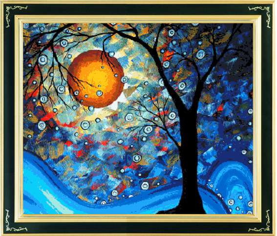2014 New Printed Canvas Cross-stitching Set Handmade Kit Embroidery Oil Painting Van Gogh Dream Tree Artwork Home Deco - Happy flowers open store