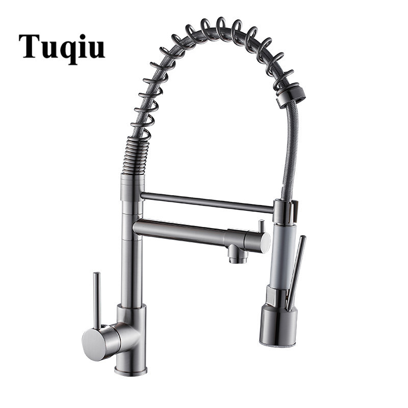 Pull Down LED Kitchen Faucet Sprayer Nickel Brass LED Faucet Swivel Vessel Sink Mixer Tap Cozinha Rotating Kitchen Sink Faucet