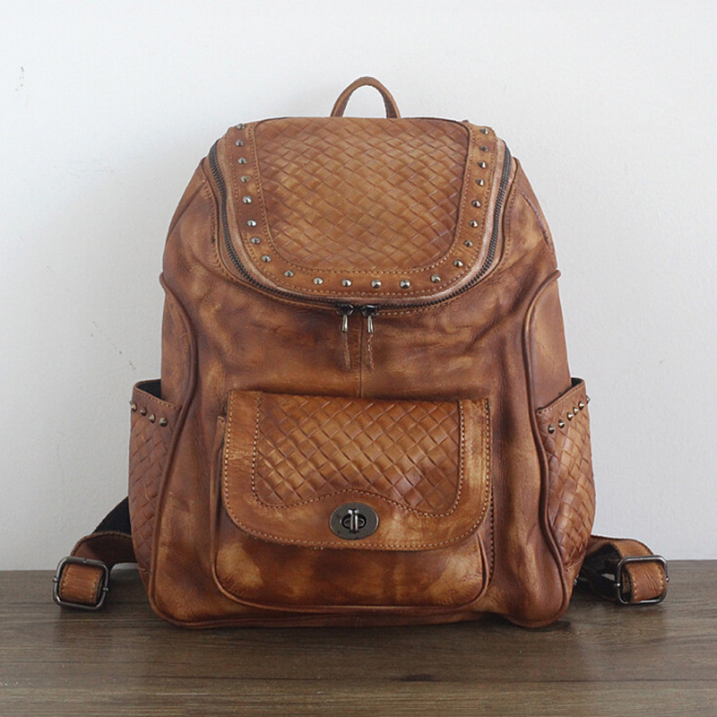 Hot Sale Women Vegetable Tanned Leather Backpacks Genuine Leather Vintage Weaving Backpack Female Fashion Travel Backpack