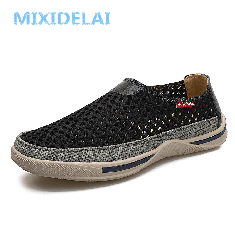 MIXIDELAI Men Shoes 2018 Fashion Sneakers Brand Mesh Shoes High Quality Breathable Sneakers Slip on Summer Casual Shoes For Men