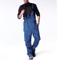 Men Bib Overall Work Coveralls Fashion Vintage Locomotive Repairman Strap Jumpsuit Pants Work Uniform Summer Sleeveless