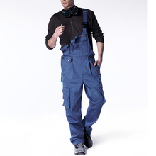 Men bib overall work coveralls fashion vintage locomotive repairman strap jumpsuit pants work uniform summer sleeveless overalls(China)
