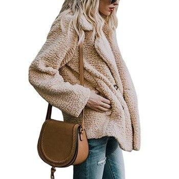 Solid Coat Women Autumn Spring Wide Lapel Loose Warm jacket Outwear Female Casual Jumper Ladies Loose Blend Coat Faux fur Ladies 4