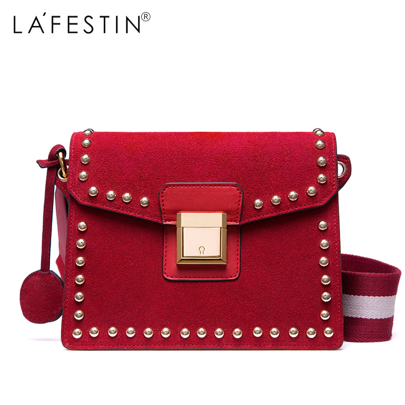 LAFESTIN Women Shoulder Bag Faux Suede Versatile Rivet Luxury Multifunction Brands Crossbody Bag Bolsa cylinder shaped rivet crossbody bag