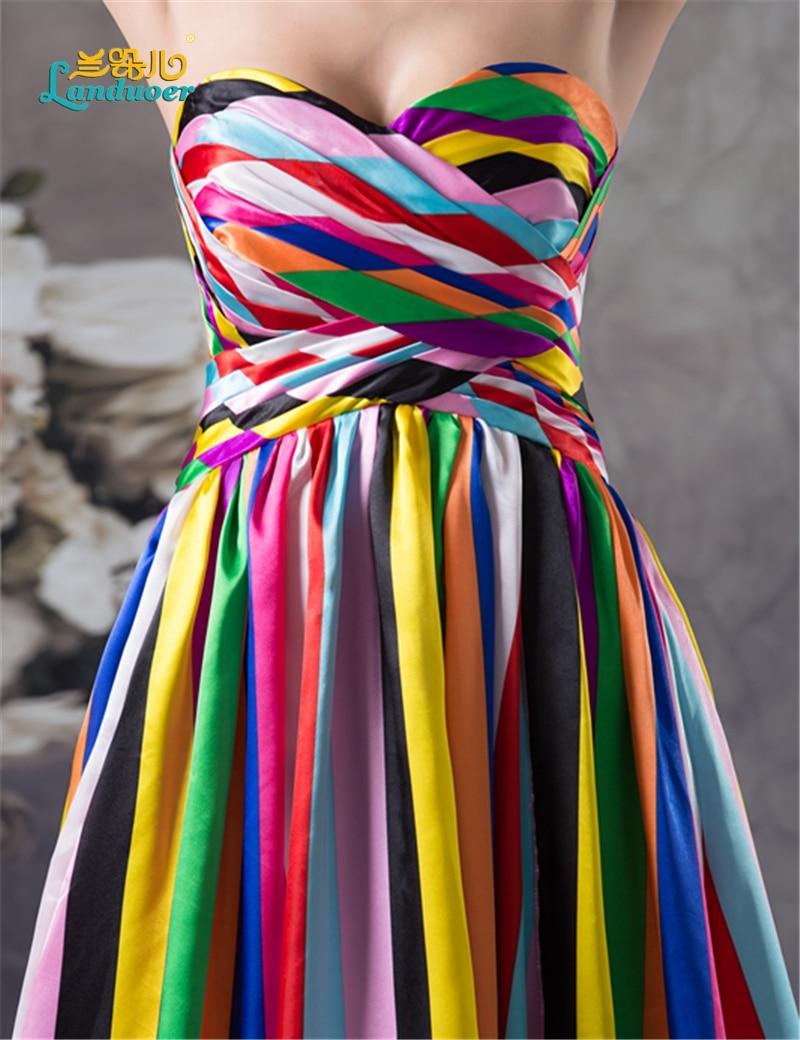 Lange prom Kleider 2016 elegante Liebsten Regenbogen gedruckt Bunte ...